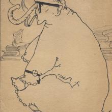 M. Éva egyetemi barátnőm rajza, 1960-as évek közepe. Hamar felismerte nehézkességem,  lustaságom.