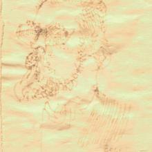 Feledy Gyula filc rajza. A Napjaink szerkesztőségi ülésén készült 1971-ben. Buta fejjel keretbene a falra akasztottam. Ez lett belőle.