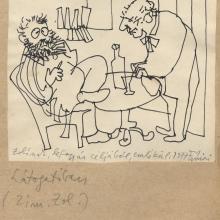 Feledy Gyula rajza, 1977.  Reményi József Tamás–Tarján Tamás Látogatóban című paródiájához. A Féja-beszélgetést tűzték tollhegyre (Kráterarc, vulkános élet)