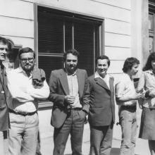 Szlovák–magyar fiatal írók találkozója Pozsonyban, 1977. Kiss Gy. Csaba, Zimonyi Zoltán, Mózsi Ferenc, Benke László, Banos János, Nádudvari Anna.