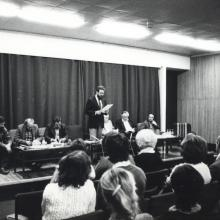 Hetek est Miskolcon a megyei könyvtárban, 1985 december 12. Raffai Sarolta hiányzott.