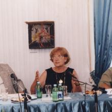 Mohás Lívia Író–olvasó napló című kötetének bemutatója az Írószövetségben, Lukács Sándorral. 1990-es évek vége.
