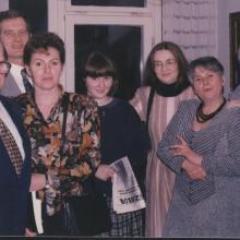 Barátainkkal a Zöldlomb utcai lakásunkban, 1990-es évek vége. Karol Wlachovsý, Kiss Gy. Csaba, Kovács István és párjuk.
